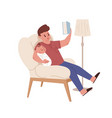 young funny father sitting in chair and reading vector image vector image