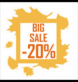 a big autumn sale of twenty percent surrounded by vector image vector image