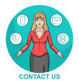 a blond business woman character with infographic vector image