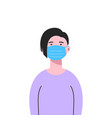 a white woman wearing medical mask isolated vector image vector image