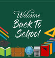 back to school title words with realistic school vector image vector image