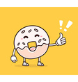 bright color smile donut with thumb up on vector image