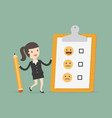 businesswoman holding a clipboard with blank vector image vector image