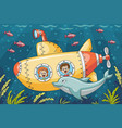 children in a submarine vector image vector image