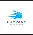 cinema tech logo movie emblem template vector image vector image