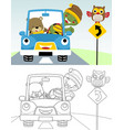 coloring book or page funny car cartoon with vector image vector image