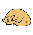 comic cartoon curled up dog vector image vector image