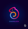 creative chameleon logo design icon colorful vector image