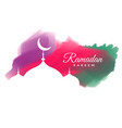 creative watercolor ramadan kareem greeting design vector image vector image