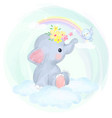 cute baby elephant playing with bird in sky vector image