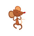 cute happy brown mouse jumping and smiling happily vector image vector image