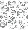 Cute monsters doodles seamless pattern