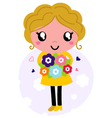 Cute Mother with flowers isolated on white vector image vector image