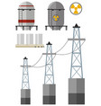 energy set with fuel tank and electricity wires vector image