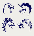 engraving style animal heads design vector image vector image