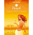 Evening beach background with beautiful elegant vector image vector image