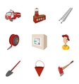 Fiery profession icons set cartoon style vector image vector image