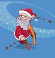 funny cartoon santa claus jump on skis vector image vector image