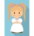 girl kid cartoon white dress icon graphic vector image vector image
