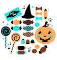 Halloween cute sweet Candy set isolated on white vector image