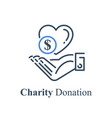 hand and heart charity fund concept vector image