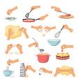 hands preparing food kitchen cooking utensils vector image