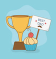 happy fathers day card with trophy cup vector image