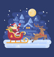 happy santa claus riding in a sleigh drawn by vector image