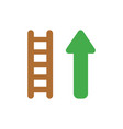 icon concept of wooden ladder with arrow moving up vector image