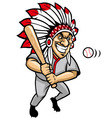 indian chief baseball mascot vector image vector image