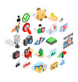 information war icons set isometric style vector image vector image