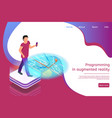 isometric banner programming in augmented reality vector image