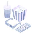 isometric movie phone popcorn soda glasses vector image vector image