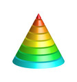 layered cone 3d conical pyramid of 8 multicolored vector image vector image
