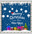 merry christmas card with snow icicles balls and vector image vector image