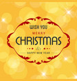 merry christmas greetings design with yellow vector image vector image
