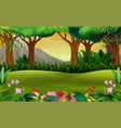 panoramic green forest landscape with mountain bac vector image