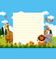 paper template with wild animals in park vector image vector image