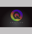 q letter logo design with colorful rainbow vector image vector image