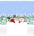 Santa Claus with snowman and reindeer vector image vector image