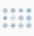 sea wind rose set blue ink cartography with vector image