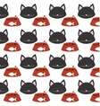 seamless pattern face kitten bowl food vector image