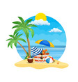 seascape sea beach beach bag vector image vector image