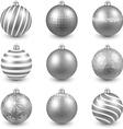 Set of realistic silver christmas balls vector image vector image