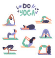 set of yoga girls in different asanas poses vector image