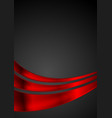 shiny red glossy waves on black background vector image vector image