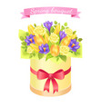 spring bouquet with rose and peony flowers crocus vector image