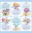 spring summer 2021 calendar set funny calf vector image vector image