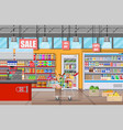 supermarket store interior with goods vector image