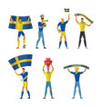 sweden football fans cheerful soccer vector image vector image